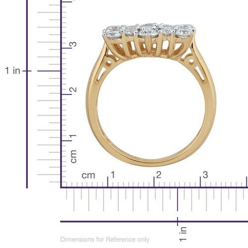 ILIANA 18K Y Gold IGI Certified Diamond (Bgt) (SI / G-H) Boat Cluster Ring 1.000 Ct.