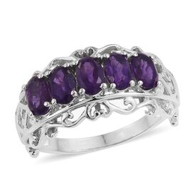 Amethyst (Ovl) 5 Stone RIng in ION Plated Platinum Bond 2.250 Ct.