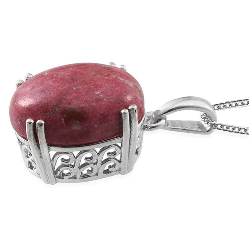 Norwegian Thulite (Ovl) Pendant With Chain in Platinum Overlay Sterling Silver 11.000 Ct.