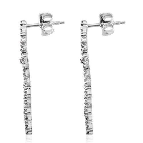 Diamond (Rnd) Earrings (with Push Back) in Platinum Overlay Sterling Silver 0.330 Ct.