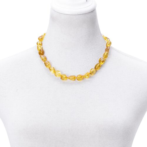 AAA Yellow Austrian Crystal Necklace (Size 18) and Bracelet (Size 7.5) in Silver Tone