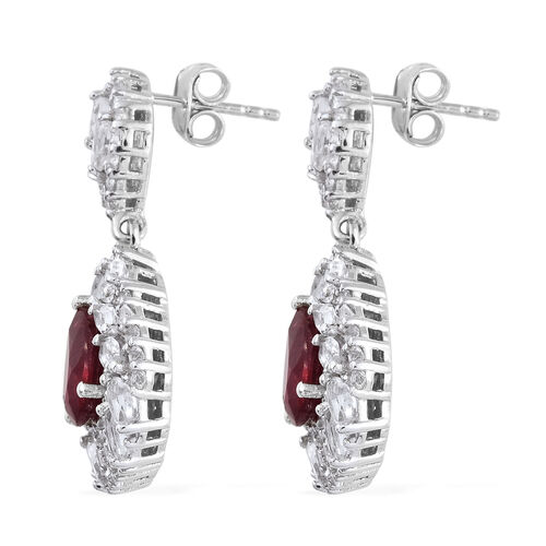 African Ruby (Pear), White Topaz Earrings (with Push Back) in Platinum Overlay Sterling Silver 10.000 Ct, Silver wt 7.46 Gms, Number of Gemstone 124.