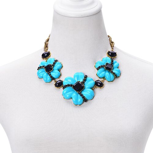 Turquoise and Black Colour Floral Necklace (Size 20 with 2 inch Extender) in Yellow Gold Tone