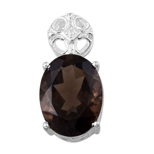 Brazilian Smoky Quartz (Ovl) Solitaire Pendant in Sterling Silver 7.500 Ct.