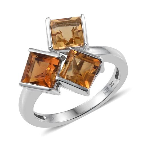 Kimberley Citrine (Sqr) Trilogy Ring in Platinum Overlay Sterling Silver 3.000 Ct.