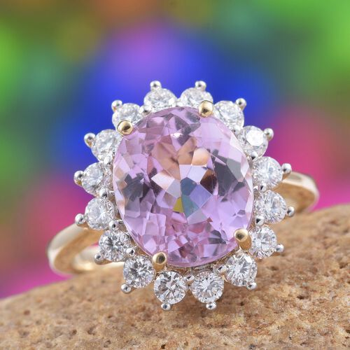ILIANA 18K Yellow Gold AAA Kunzite (Ovl 5.50 Ct), Diamond Floral Ring 6.500 Ct.