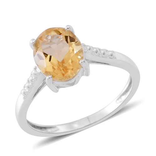 Citrine (Ovl) Solitaire Ring in Sterling Silver 2.350 Ct.