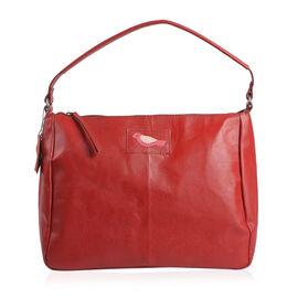 Genuine Leather RFID Blocker Red Colour Handbag with External Zipper Pocket and Adjustable Shoulder Strap (Size 36X28X16 Cm)