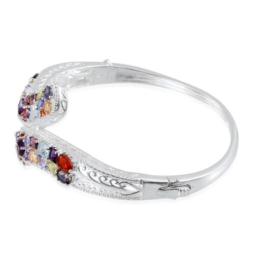 Jalisco Fire Opal (Pear), Sky Blue Topaz, Hebei Peridot, Rhodolite Garnet, Citrine, Amethyst, Mozambique Garnet, Tanzanite, Diamond and Multi Gem Stone Bangle (Size 7.5) in Sterling Silver 11.620 Ct.