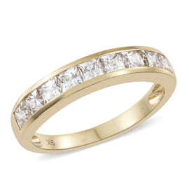 J Francis - 9K Yellow Gold (Princess Cut) Half Eternity Band Ring Made with SWAROVSKI ZIRCONIA