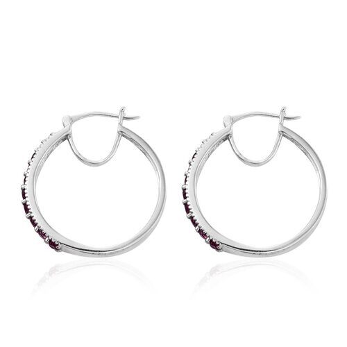 Rare Mozambique Grape Colour Garnet (Rnd) Hoop Earrings (with Clasp) in Platinum Overlay Sterling Silver 1.750 Ct.