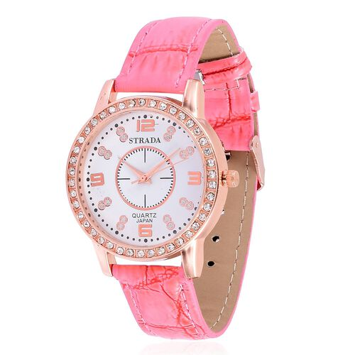 STRADA Japanese Movement White Austrian Crystal Studded White Dial Water Resistant Watch in Rose Gold Tone with Stainless Steel Back and Pink Strap