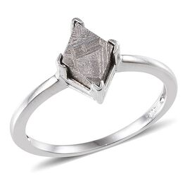 Meteorite Solitaire Ring in Platinum Overlay Sterling Silver 3.250 Ct.
