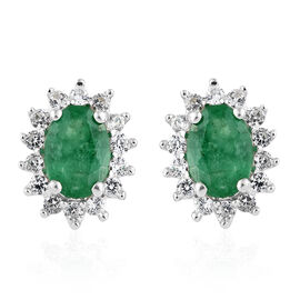 9K White Gold 1.25 Ct AA Kagem Zambian Emerald Halo Stud Earrings with Natural Cambodian Zircon (with Push Back)