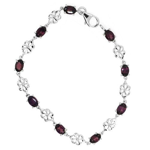 Rhodolite Garnet (Ovl) Bracelet in Rhodium Plated Sterling Silver (Size 8) 5.000 Ct.