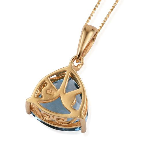 London Blue Topaz (Trl) Solitaire Pendant With Chain in 14K Gold Overlay Sterling Silver 6.750 Ct.