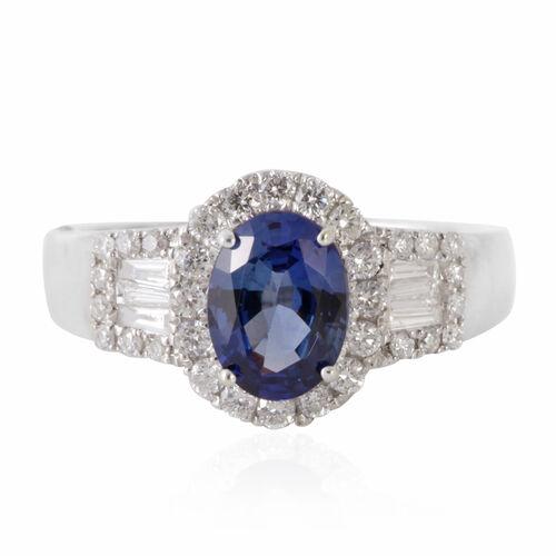 ILIANA 18K W Gold AAAA Ceylon Blue Sapphire (Ovl 1.45 Ct), Diamond (SI/G-H) Ring 2.000 Ct.