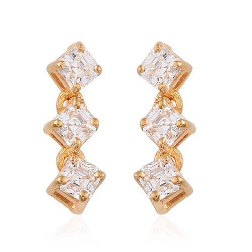J Francis - 14K Gold Overlay Sterling Silver (Asscher Cut) Earrings (with Push Back) Made with SWAROVSKI ZIRCONIA