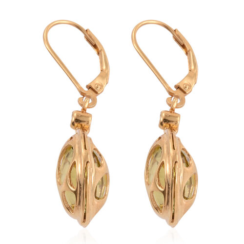 Briolette Cut Natural Green Gold Quartz (Rnd), Natural Cambodian Zircon Lever Back Earrings in 14K Gold Overlay Sterling Silver 12.250 Ct.