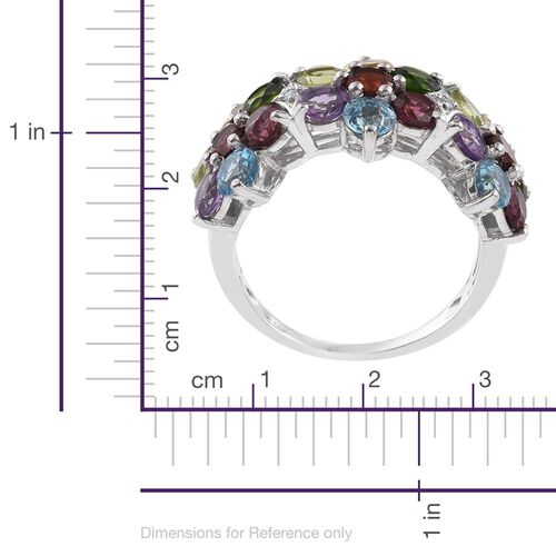 Mozambique Garnet (Rnd), Rhodolite Garnet, Electric Swiss Blue Topaz, Hebei Peridot, Russian Diopside, Citrine, Amethyst and White Topaz Floral Ring in Platinum Overlay Sterling Silver 6.030 Ct.