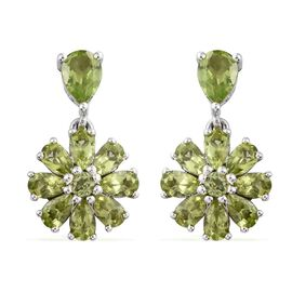 Hebei Peridot (Pear) Floral Earrings (with Push Back) in Platinum Overlay Sterling Silver 4.780 Ct. Silver wt 3.76 Gms.