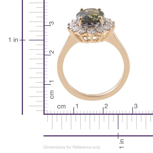 ILIANA 18K Yellow Gold 5 Carat Rare AAA Green Tanzanite Halo Ring with Diamond SI G-H