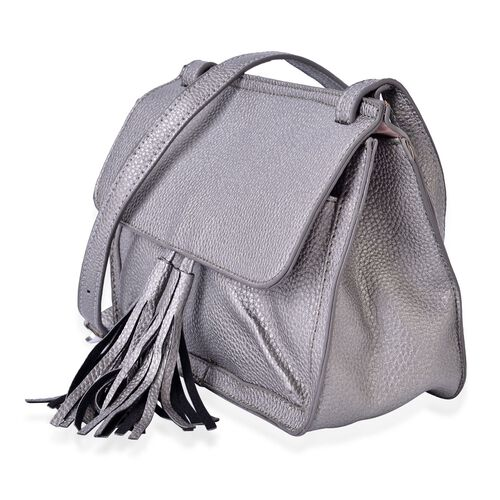 Silver Colour Crossbody Bag with Adjustable Shoulder Strap and Tassels (Size 22.5x18x10 Cm)