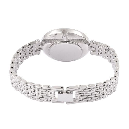 STRADA Genuine Mother of Pearl Japanese Movement Silver Tone Watch
