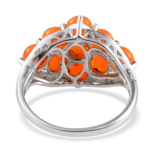 Orange Ethiopian Opal (Rnd), Diamond Ring in Platinum Overlay Sterling Silver 2.510 Ct.