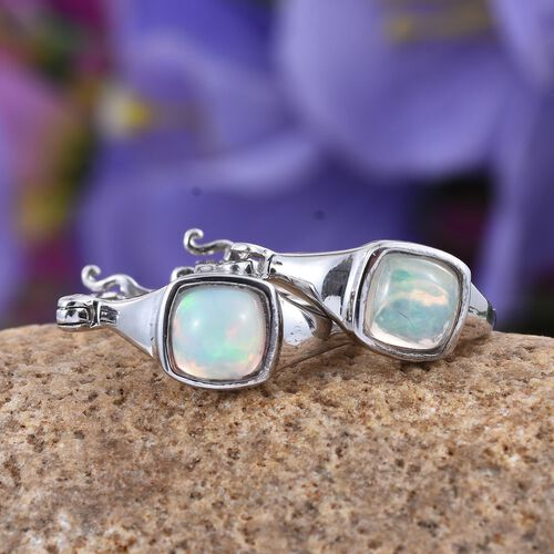 Ethiopian Welo Opal (Cush) Hoop Earrings (with Clasp) in Platinum Overlay Sterling Silver 1.250 Ct.