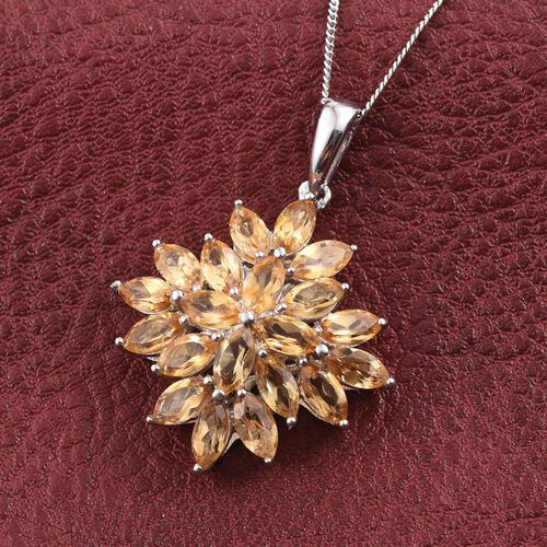 Citrine (Mrq) Cluster Pendant With Chain in Platinum Overlay Sterling Silver 4.500 Ct.