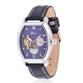 GENOA Automatic Skeleton Blue Dial Water Resistant Watch in Silver Tone With Stainless Steel Back and Black Colour Strap