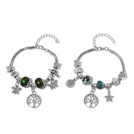 Set of 2 - Blue and Green Glass, White and Blue Austrian Crystal Butterfly, Star, Tree and Multi Charm Bracelet (Size 7.50 with 2 inch Extender) in Silver Tone