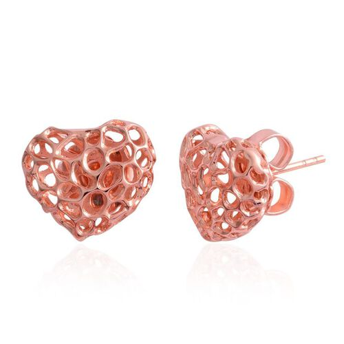 RACHEL GALLEY Rose Gold Overlay Sterling Silver Amore Heart Stud Earrings (with Push Back), Silver wt 3.50 Gms.