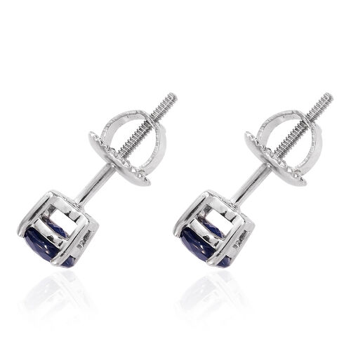 RHAPSODY 1.40 Ct AAAA Kanchanburi Blue Sapphire Stud Earrings in 950 Platinum (with Screw Back)