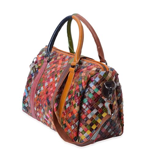 100% Genuine Leather Multi Colour Woven Pattern Tote Bag with Shoulder Strap (Size 33x27x16 Cm)
