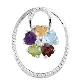 Sky Blue Topaz, Mozambique Garnet and Multi Gemstone Flower Pendant in Sterling Silver 2.500 Ct.