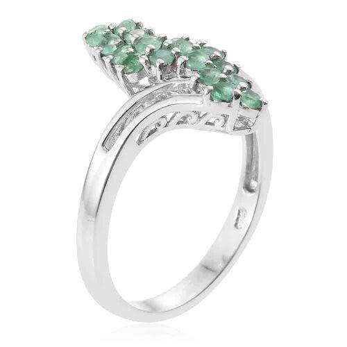 Kagem Zambian Emerald (Rnd) Crossover Ring in Platinum Overlay Sterling Silver 0.750 Ct.