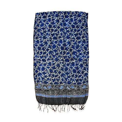 Blue Colour Batik Print 100% Silk Scarf (Size 150x45 Cm)
