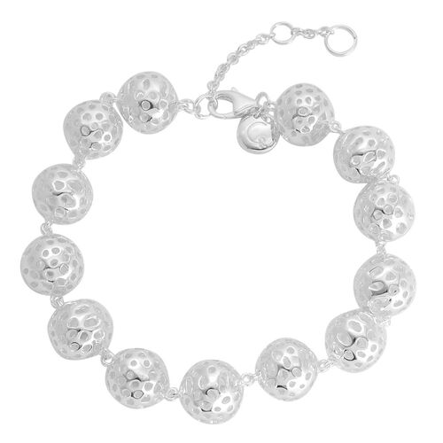 RACHEL GALLEY Rhodium Plated Sterling Silver Memento Globe Bracelet (Size 7 with 1 inch Extender), Silver wt 20.00 Gms.