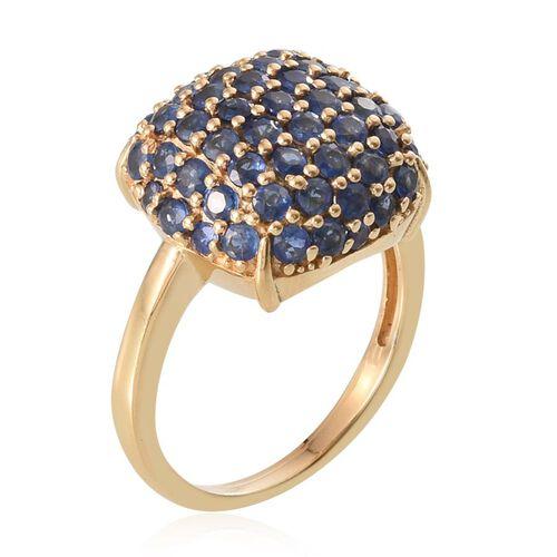 Kanchanaburi Blue Sapphire (Rnd) Ring in 14K Gold Overlay Sterling Silver 2.947 Ct.