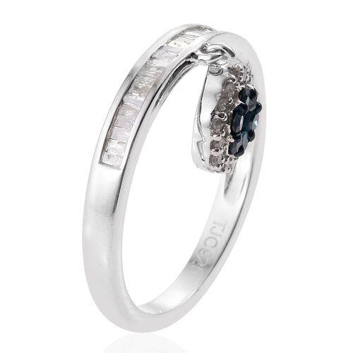 GP White Diamond (Bgt), Blue Diamond and Kanchanaburi Blue Sapphire Charm Ring in Platinum Overlay Sterling Silver 0.530 Ct.