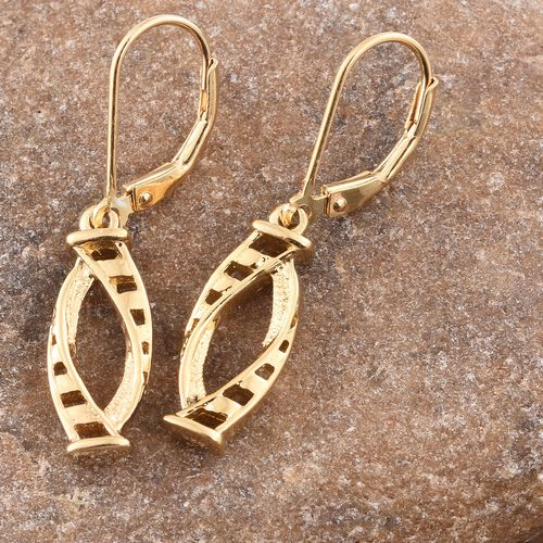 14K Gold Overlay Sterling Silver Lever Back Earrings, Silver wt. 3.00 Gms.