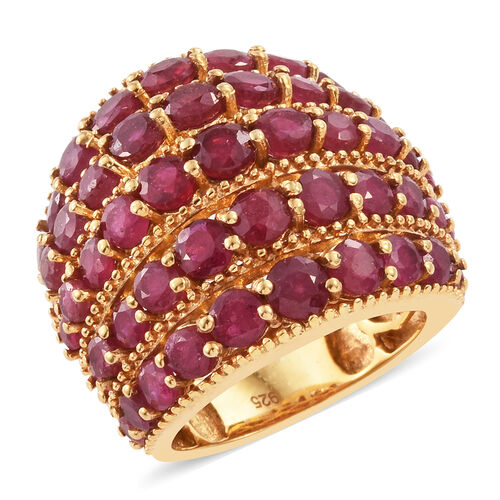 African Ruby (Rnd) Ring in 14K Gold Overlay Sterling Silver 10.000 Ct.