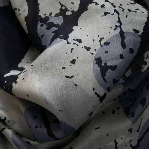 100% Mulberry Silk Large Polka Dots and Branches Pattern Black and Grey Colour Pareo (Size 180x100 Cm)