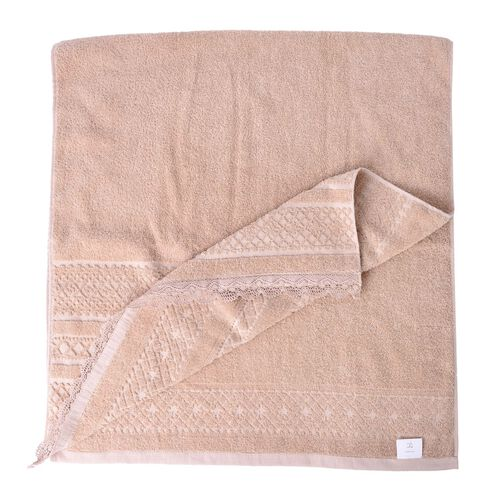 100% Cotton Set of 2 - Beige Colour Towel with Low Twist Jacquard Border and Lace Large (Size 140x65 Cm) and Small (Size 70x50 Cm)
