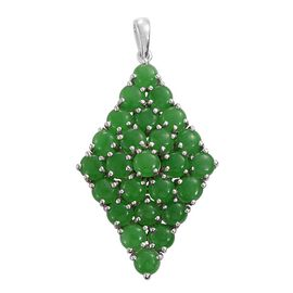 Green Jade (Rnd) Cluster Pendant in Platinum Overlay Sterling Silver 15.000 Ct.