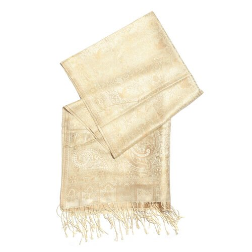 SILK MARK - 100% Superfine Silk Golden, Beige and White Colour Paisley and Floral Pattern Jacquard Jamawar Scarf with Fringes (Size 180x70 Cm) (Weight 125-140 Grams)