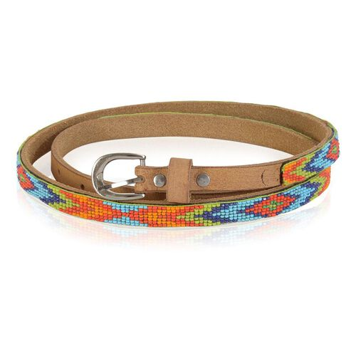 Genuine Leather Handmade Orange, Red, Green and Multi Colour  Seed Beaded Belt (Size 110x1.25 Cm)