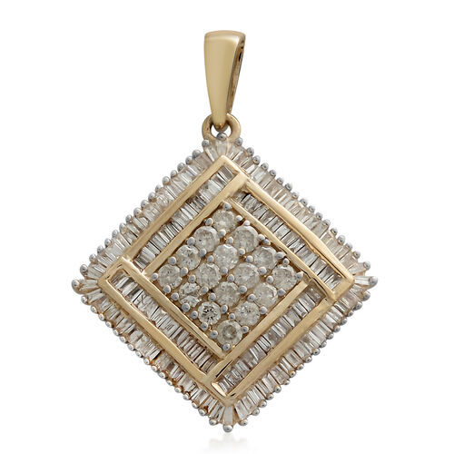 9K Yellow Gold SGL Certified Diamond (Rnd) (I3/G-H) Pendant 1.000 Ct. Gold wt 3.76 Gms. Number of Diamonds 140